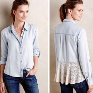 Anthropologie Holding Horses Chambray & Lace
